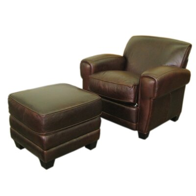 Paris Classic Leather Chair and Ottoman