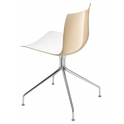 Arper Catifa 46 Polypropylene Two-Tone Chair with 4-Way Swivel Trestle Base on Glides