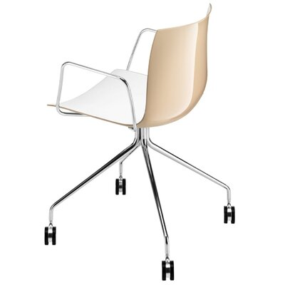 Arper Catifa 46 Polypropylene Two-Tone Armchair with 4-Way Swivel Trestle Base on Castors