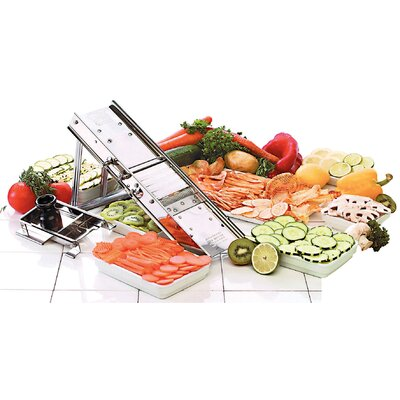Paderno World Cuisine Bron Mandolin Slicer 38 Blade Set in Black