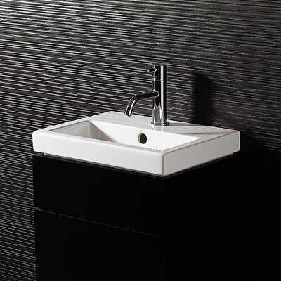 Bissonnet Area Boutique Logic 40 Ceramic Bathroom Sink in White