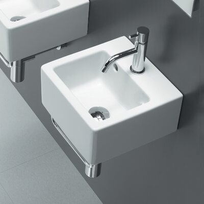 Bissonnet Area Boutique Ice Small Square Ceramic Bathroom Sink