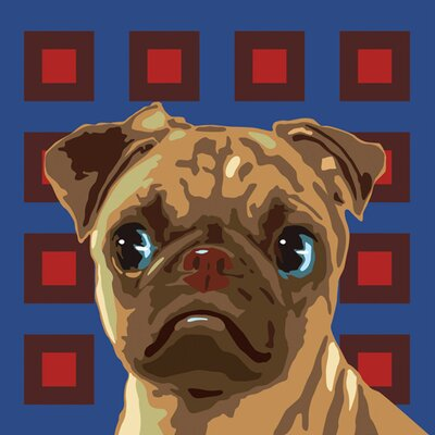 Naked Decor Pooch Décor Curious Pug Portrait Graphic Art on Canvas