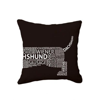 Naked Decor Dachshund Typography Pillow