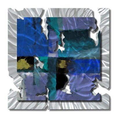 "All My Walls Blue Radiant Relic Abstract Wall Art - 28"" x 28"""