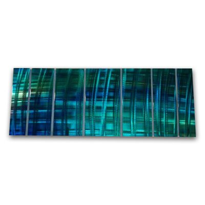 "All My Walls Abstract by Ash Carl Metal Wall Art in Blue and Turquoise - 23.5"" x 60"""