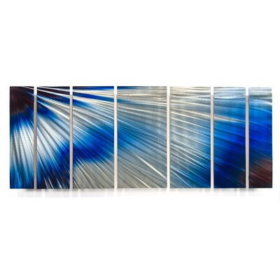 "All My Walls Abstract by Ash Carl Metal Wall Art in Blue and White - 23.5"" x 60"""