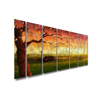 All My Walls 'Tree' by Ash Carl 7 Piece Original Painting on Metal Plaque Set