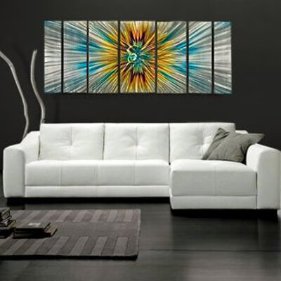 "All My Walls Abstract by Ash Carl Metal Wall Art in Orange Multi - 23.5"" x 60"""