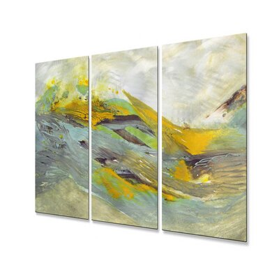All My Walls 'Tsunami' by Mary Lea Bradley 3 Piece Original Painting on Metal Plaque