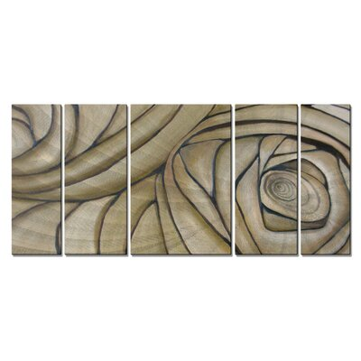 'Cerebral Spiral' by Janice Trane Jones 5 Piece Original Painting on Metal Plaque Set