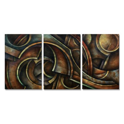 'Mechanised' by Michael Lang 3 Piece Original Painting on Metal Plaque Set