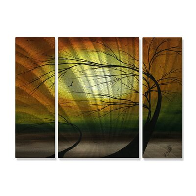 'Mother and Child' by Megan Duncanson 3 Piece Original Painting on Metal Plaque
