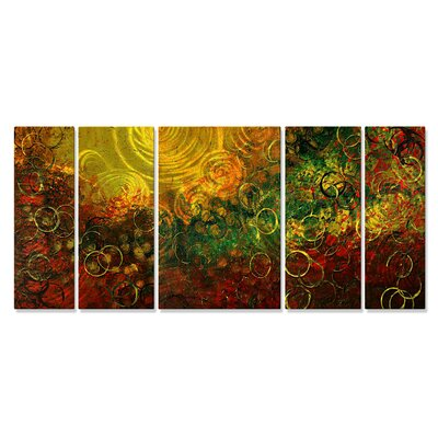 'Infinite Swirls' by Megan Duncanson 5 Piece Original Painting on Metal Plaque Set