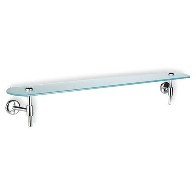 Stilhaus by Nameeks Pegaso Wall Mounted Frosted Glass Shelf with Holder in Chrome