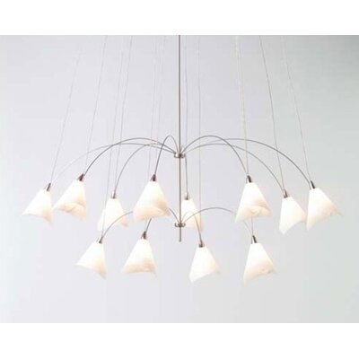 LBL Lighting TwiLight Glass Teardrop 12 Light Chandelier