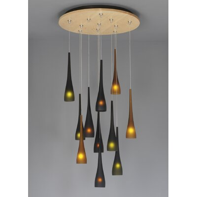 LBL Lighting Fusion Jack Eleven Port Wood Round Canopy in Satin Nickel