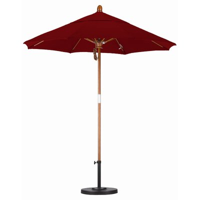 California Umbrella 7.5' Fiberglass Marenti Wood Market Umbrella