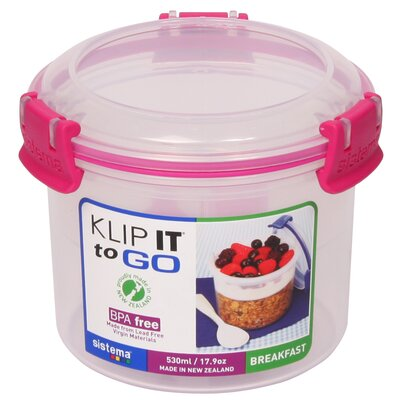 17.9 Oz. Klip It Breakfast To Go Food Storage Container