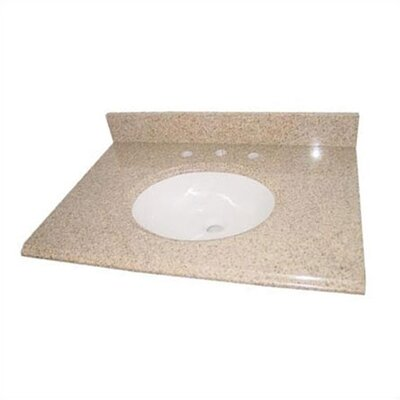 "Pegasus 25"", 31"", 37"", 49"" or 61"" Beige Granite Vanity Top with White Sink and Optional Side Splash"