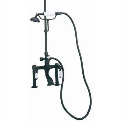 "Elizabethan Classics Deck Mount Tub Faucet with Hand Shower and ""Hot"" & ""Cold"" Porcelain Lever Handles for Shower System"