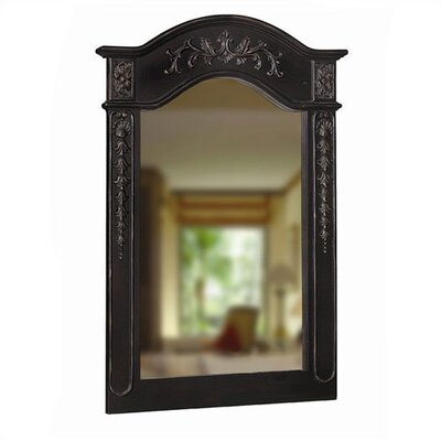 Single Carved Portrait Mirror in Hand Rubbed Black