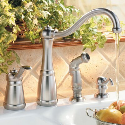 kitchen faucet with side spray and soap dispenser reviews wayfair