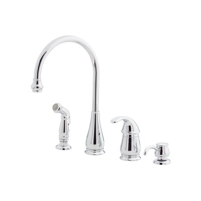 Treviso One Handle Widespread Kitchen Faucet with Soap or Lotion Dispenser and Side Spray