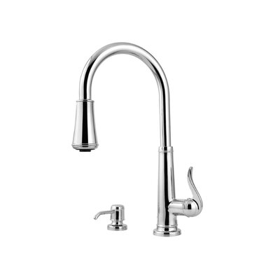 Ashfield One Handle Centerset Pull-Out Kitchen Faucet with Soap Dispenser