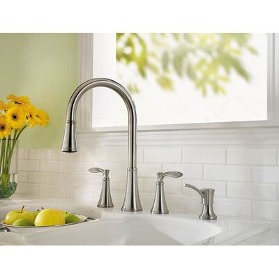 Price Pfister Petaluma Two Handle Widespread Pull-Out Kitchen Faucet with Soap Dispenser