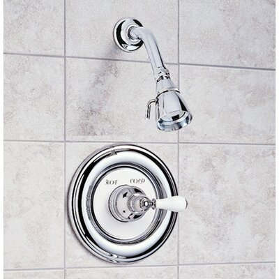 American Standard Hampton Diverter Shower Faucet Trim Kit with Porcelain Cross Handle