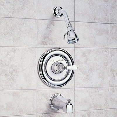 American Standard Hampton Bath Tub and Shower Faucet with Porcelain Lever Handle