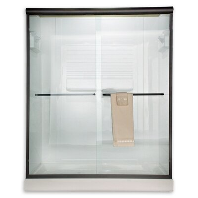 American Standard Euro Frameless Bypass Shower Door with Rain Glass