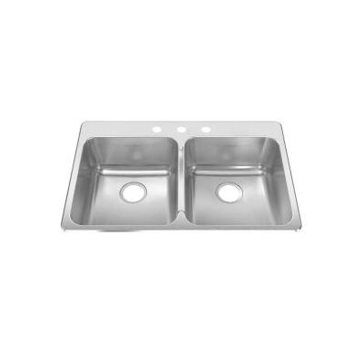 American Standard Stainless Steel Drop-In 33.38-Inch x 22-Inch Double Bowl kitchen sink in Brushed Stainless Steel