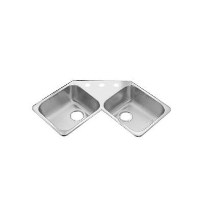 American Standard Stainless Steel Drop-In 43.44&quot; x 23.38&quot; Double Corner Bowl kitchen sink in Brushed Satin