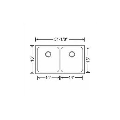 "Blanco Spex 31.13"" x 18"" Equal Double Bowl Undermount Kitchen Sink"