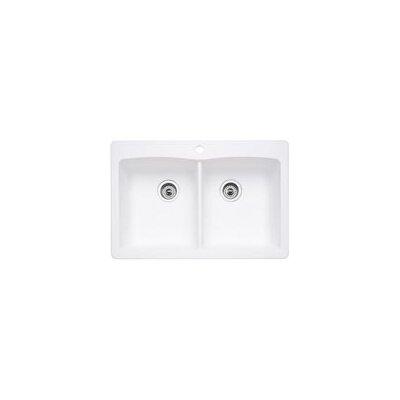 "Blanco Diamond 33"" x 22"" Equal Double Bowl Drop-In Kitchen Sink"