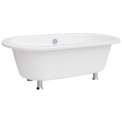 "Schon Contemporary 68"" Cast Iron Bath Tub with Chrome Feet in White"