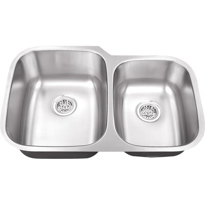 "Schon 30"" x 18.75"" Double Bowl 18 Gauge Kitchen Sink"