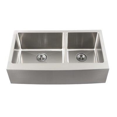 "Schon 34"" x 18.5"" Double Bowl Farmhouse Kitchen Sink"