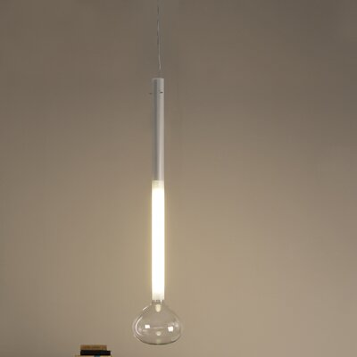 Studio Italia Design Soap 1 Light Large Blown Glass Mini Pendant with Frosted Stem