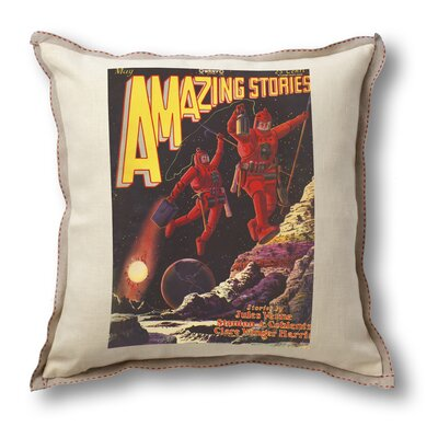 Museum of Robots Classic Sci-fi Illustration Amazing Stories Pillow Cover - Astronauts