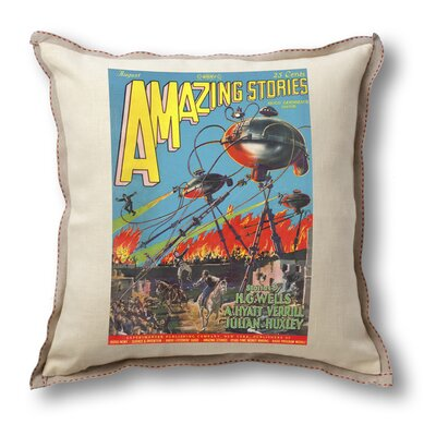 Museum of Robots Classic Sci-fi Illustration Amazing Stories Pillow Cover - War of the Worlds