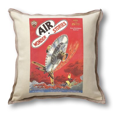 Museum of Robots Classic Sci-fi Illustration Air Wonder Stories Pillow Cover - Flying Buzz-Saw