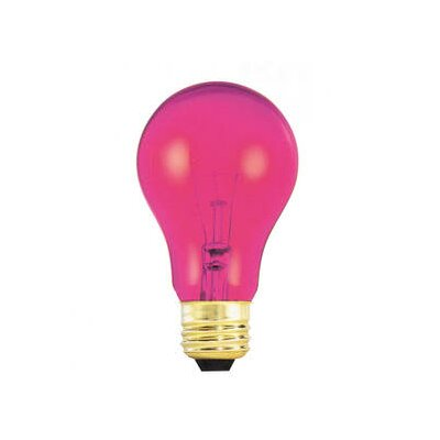Bulbrite Industries 25W Transparent A19 Incandescent Bulb in Pink