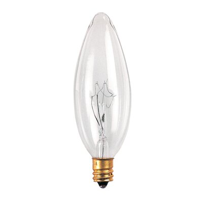 Bulbrite Industries 25W Incandescent Torpedo Chandelier Bulb with E12 Base in Clear