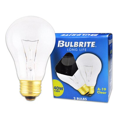 Bulbrite Industries 40W Long Life General Service Standard A19 Incandescent Bulb in Clear (Pack of 2)
