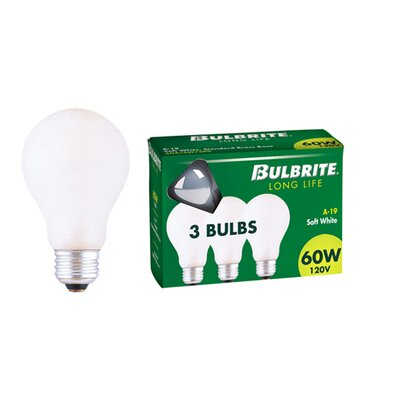 Bulbrite Industries 60W 60A General Service A19 Incandescent Bulb in Soft White (Pack of 3)