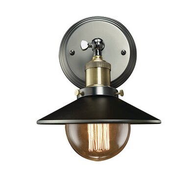 Bulbrite Industries Nostalgic Vintage 1-Light Wall Sconce with Mirrored Reflector Shade