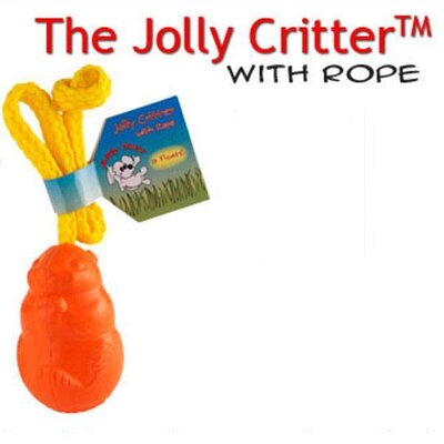 Jolly Pets Floating Critter with Rope Dog Toy in Orange